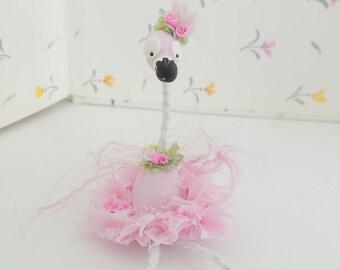 Fancy Feathers Pink Florida Flamingo Miniature figurine