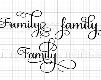 Family SVG's  - Set of 3 - The Word Family in 3 Different Styles - Family Set 2