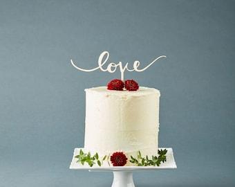 Love Cake Topper - Wedding Cake Topper - Wooden Hand Lettered Love Calligraphy Cake Topper