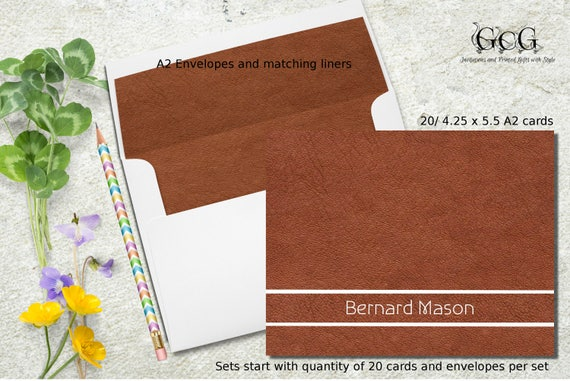 personalized stationery for men stationery card set leather look