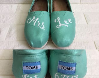 Mrs Weddings Toms. FREE CUSTOMIZATION. [Mint Shoes] Mint Glitter Toms. Can be made into Mint Vans or Mint Converse.
