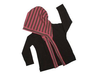 Raspberry Striped Hooded Cardigan, Brown Knit Hoodie, Open Cardigan, Grandpa Cardi, Lightweight Jacket, Fall, Back to School