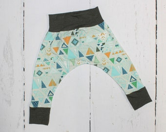 Olive Triangle Baby and Kids Harem Pant Leggings, Knit Harems, Leggings, Mustard, Blue, Aqua and Olive Triangle Print