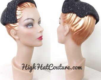 Vintage 1950s Hat / Confetti Knit / Charcoal gray / Vintage 50s Hat