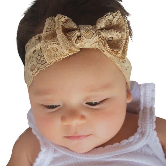 Christmas Headband, Infant Bow Headband, Lace Headband, Tan Headband, Baby Headband, Bow Headband, Newborn Headband,  Hair Accessories