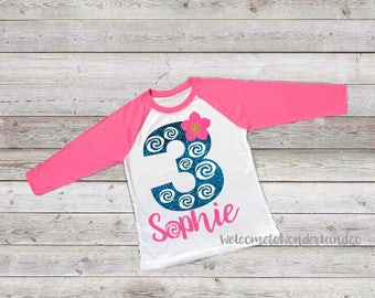 Moana Birthday Girl Custom Name and Number T Shirt Raglan Tank top or Tee baby kids teen