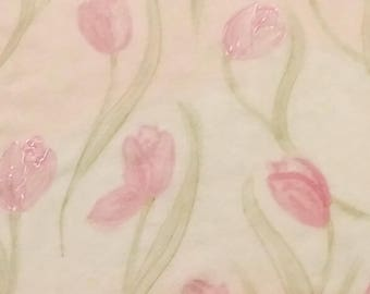 "Hand painted Silk scarf "" Pink tulips"" - excelsior"