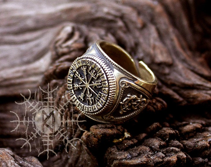 NEW ITEM! ~ Bronze Vegvisir Futhark Runes Vikings Compass Magic Stave Nordic Amulet Adjustable Size Ring