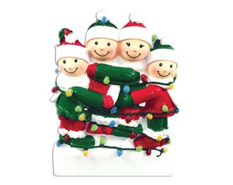 FREE SHIPPING 4 Family Tangled in Lights Family / Personalized Christmas Ornament / Family Ornament / Friends Forever