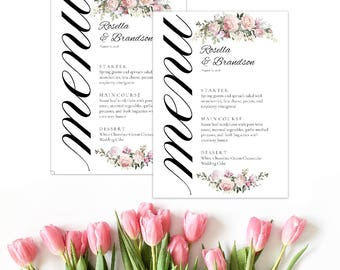 Marsala Menu, boho food menu, marsala wedding menu. Burgundy menu, floral wedding menu, digital menu card, long tea menu, marsala, dinner