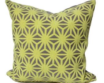 Yellow grid pillow, Yellow modern pillow, kirigami lemon drop pillow, arc com fabric, citrus pillow cover