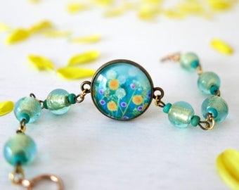 Turquoise Bracelet, Turquoise Flowers Bracelet, Floral Art Bracelet, Bracelet with Art Print Pendant, Glass Floral Bracelet