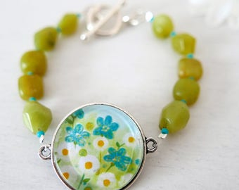 Lime Green Bracelet, Turquoise Flowers Bracelet, Bracelet with Floral Art Print, Jade Bracelet, Daisy Bracelet, Green Floral Jewelry
