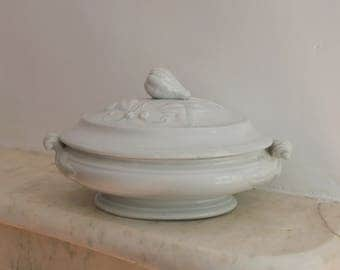 Antique Ironstone Tureen with Lid, Gourd, Early Blue Tint, W B, Pearl China, Fenton