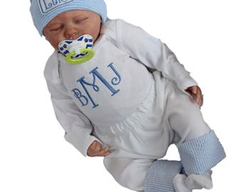 Baby Boy Coming Home Outfit. Newborn Boy Clothes. Monogram Bodysuit. Pants with Seersucker Cuffs. Newborn Coming Home. Baby Boys' Clothing