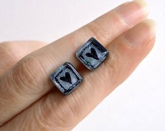 Square earrings, Black heart earrings, Love jewelry, Minimalist earrings, Sterling silver, Heart studs, Heart jewelry, Unique earrings