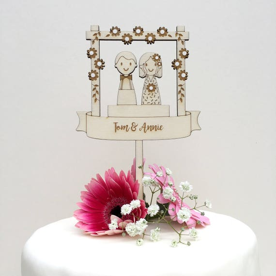 Wedding couple cake topper - wooden topper - boho wedding - hipster topper - rustic wedding - wedding topper