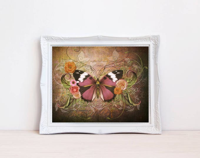 Vintage style pink butterfly print