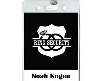 Personalized Ring Security Button Pin Ring Bearer - Ring security badge template