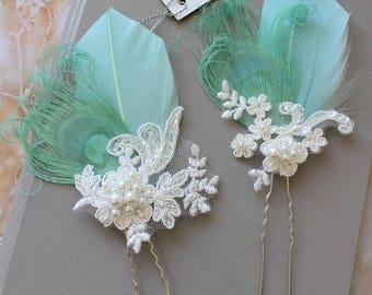 Mint Peacock  Feather  Hair Pin,  Peacock  hair pin,  Bridal Headpiece, Wedding  hair piece, Feather Fascinator , Blush  Wedding Headpiece