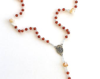 Carnelian Rosary with Citrine Nuggets