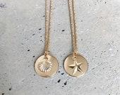 Seashell Medallion Necklace, Beach Charms, Seashell, Star, Beach Jewelry