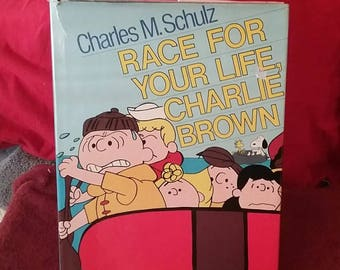 Vintage Peanuts Race for Your Life Charlie Brown 1978 Hardcover First Edition