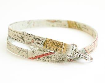 Map Fabric Lanyard with Swivel Clasp - Key Lanyard - ID Badge Holder - 19.5 Inch Strap - Teacher Lanyard - Cute Thin Lanyard - Geography