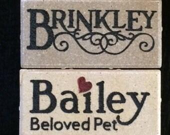 4x8 Whitiacre Greer Clay Engraved Pet Brick, Personalized Keepsake, or Memorial Landmark Stone