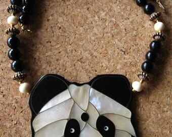 adorable VINTAGE 1970s PANDA bear shell inlay beaded black white gold