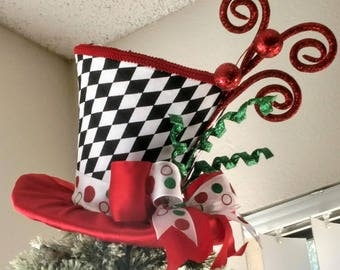 Top Hat   Christmas Tree Topper   FREE SHIPPING   Tree Topper Bow   Tree  Topper