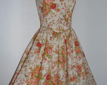 Laura Ashley, Vintage, Unworn, Ecru Seville Floral, Summer Occasion, 50's Style Boned Dress, Size 12 UK