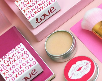 Valentines LOVE Lip balm in Prosecco and Strawberry flavour.