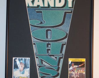 Seattle Mariners Randy Johnson Player Pennant & Cards...Custom Framed!