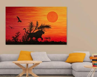 African Lion Sunset painting Large Oil Painting on Canvas African Lion silhouette Bird silhouette African sunset Black Orange Red Yellow