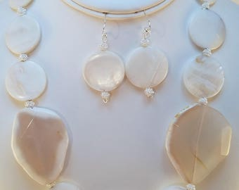 White Agate Statement Necklace & Earring Set
