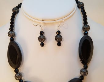 Black Statement Necklace & Earring Set