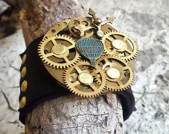Steampunk Baloon Leather Wristband Cuff -Bracelet-Steampunk Bracelet-Steampunk cuff-steampunk gift