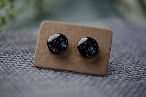 Black Night Sky Earrings - Surgical Steel Hypoallergenic Green Studs - Free Postage Sensitive Earrings