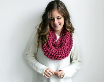 Knit Chunky Scarf Knitted Cowl Raspberry- Aberdeen Cowl