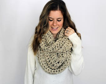 Chunky Knit Scarf Cowl Knitted Oversized Oatmeal- Baltimore Cowl
