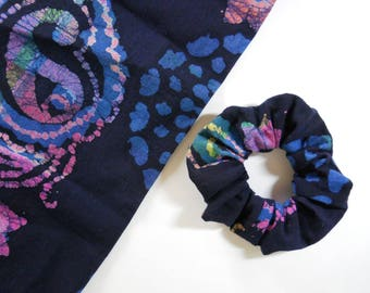 Navy Batik Scrunchie / Cotton Fabric Hair Elastic in Navy, Blue and Pinks #007