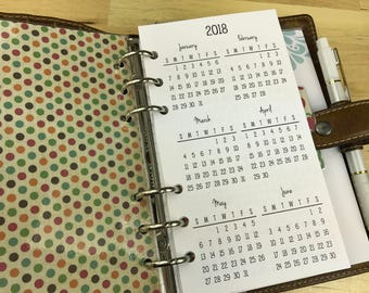 Printed Personal Size Yearly Calendars {January-December 2018} #200-91