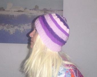 knit vegan hat in purple stripes