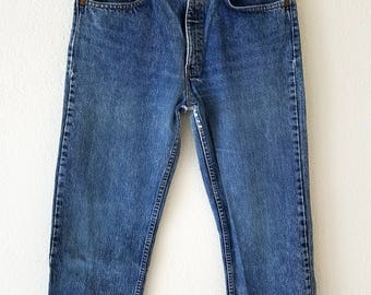 505 Levi Jeans Distressed Denim 80s Grunge 32x30 American Made USA