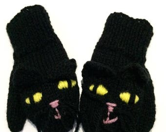 Children's Hand Knitted Black Cat Mittens Age 3-4