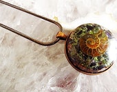 Powerful Orgone Pendant - Peridot/Hematite/Black Tourmaline/Ammonite/Amethyst/Clear Quartz - FREE WORLDWIDE SHIPPING!