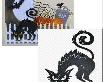 Halloween Cutting dies - Horrible Cat metal die Cheery Lynn Designs B598 for scrapbooking and card making - use in most universal machines