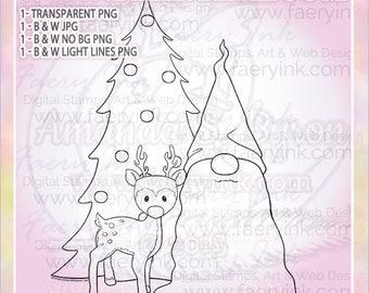 Christmas Tree Tomte Nisse Gnome Deer UNCOLORED Digital Stamp Image Adult Coloring Page jpeg png jpg Craft Cardmaking Papercrafting DIY