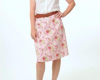 PINK FLORAL SKIRT - Summer Skirt - A line Skirt - Knee Length Skirt - Romantic Clothing